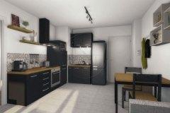 Appartement T2 cuisine et entrée